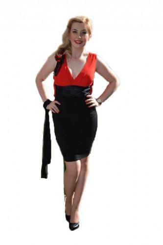 Poze Rochie eleganta, scurta, nuanta negru-rosu, cu croiala cambrata