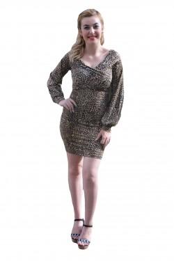 Rochie fashion de culoare maro cu negru, cambrata pe silueta