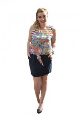 Rochie feminina,cu imprimeu si fusta din in, bleumarin