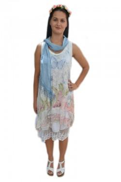 Poze Rochie moderna cu dantela, alba, model casual cu lungime medie