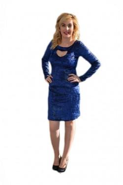 Poze Rochie sofisticata, albastra, lucioasa, maneca lunga