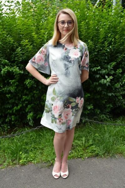 Rochie Tenley cu imprimeu floral,nuanta de alb
