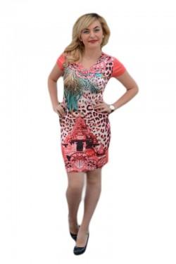 Poze Rochie tinereasca cu croiala cambrata, model mini, nuanta corai