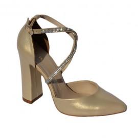 Poze Sandale elegante, nuanta de auriu sidef cu strasurii