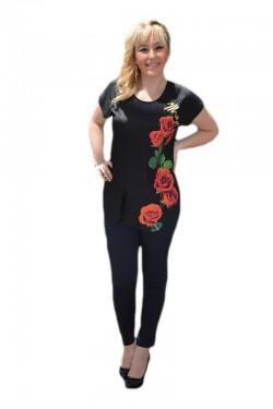 Poze Tricou fashion de culoare neagra cu imprimeu chic contrastant
