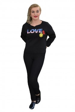 Poze Bluza casual, de culoare neagra, marime universala