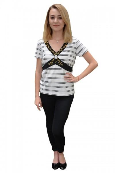 Poze Bluza casual Zendaya ,design cu dungi,nuanta de alb