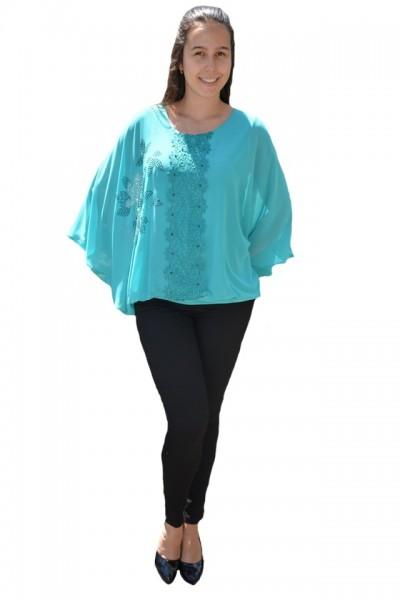 Poze Bluza dama eleganta ,model cu flori din strasuri,nuanta de turcoaz