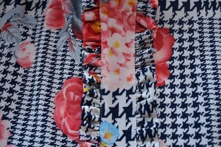 Bluza Daphne cu imprimeu floral,nuanta de alb