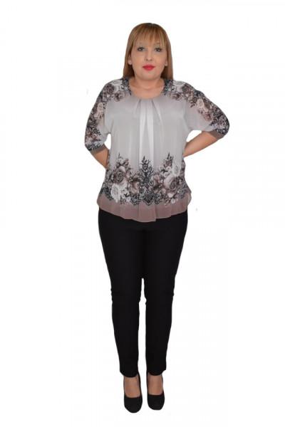 Poze Bluza de ocazie din material tip voal ,maro cu imprimeu floral