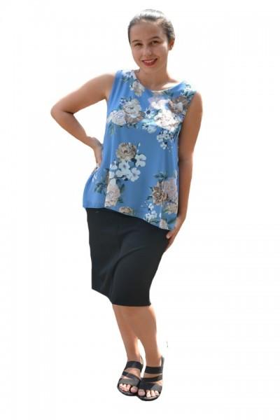 Poze Bluza de vara tip maieu,Florice din voal,imprimeu floral ,nuanta de albastru