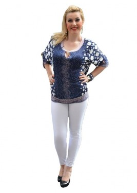 Poze Bluza deosebita cu maneca scurta, bleumarin, cu manseta la baza