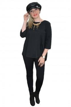 Bluza deosebita culoare neagra cu model de funda in spate