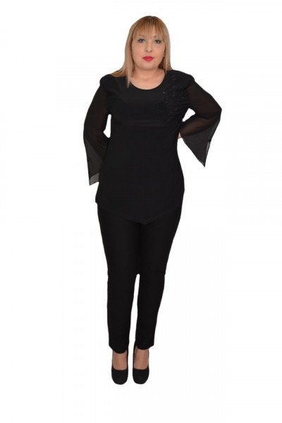 Poze Bluza eleganta Ima cu insertii de strarsuri,negru