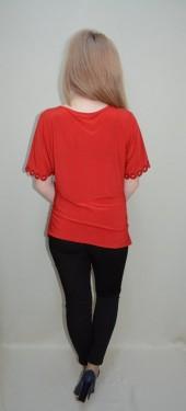 Bluza eleganta, nuanta de rosu, design deosebit aplicat
