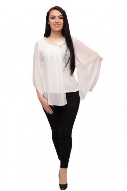 Poze Bluza fashion cu voal si aplicatii de voal simplu, asimetric, alb
