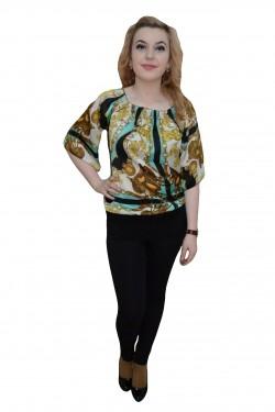 Poze Bluza lunga de vara cu manseta lata la baza si design multicolor