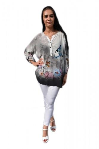 Poze Bluza moderna, tinereasca, gri cu model de fluturi colorate