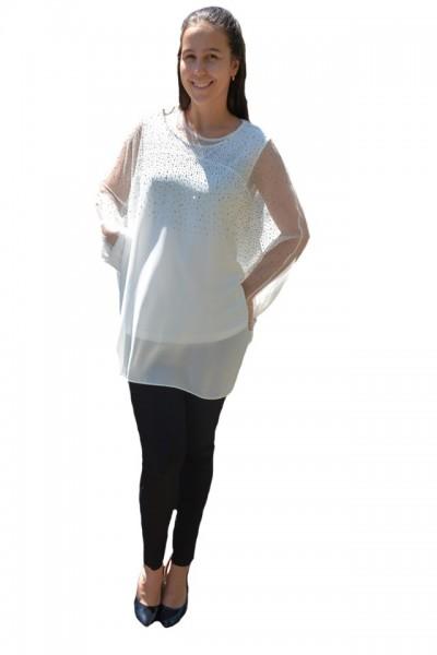 Poze Bluza rafinata cu strasuri model cu voal detasabil,nuanta de alb