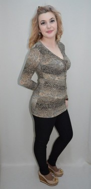 Poze Bluza tinereasca cu design animal-print, model lung, cambrat