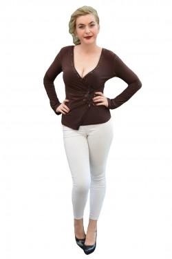 Bluza tinereasca cu paiete si cristale, culoare maro, model elegant
