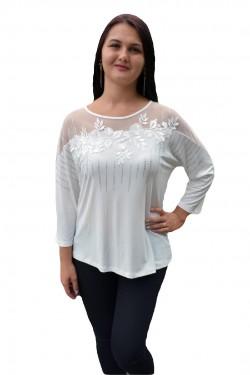 Poze Bluza trendy cu maneca trei-sferturi si decolteu rotund, alba