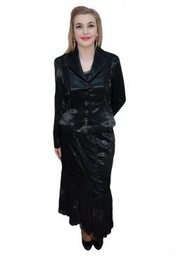 Poze Costum din doua piese, nuanta de negru, realizat din saten fin