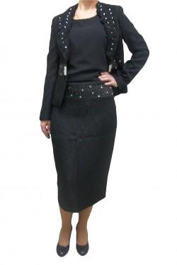 Poze Costum negru, elegant, cu fusta midi, sacou cu maneca lung