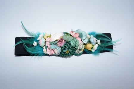 Curea elastica neagra cu flori turcoaz