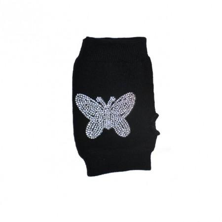 Manusa moderna de culoare neagra, fara degete, design de fluture