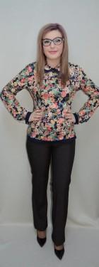 Poze Pantalon drept, maro, din material usor elastic cu aspect de blug