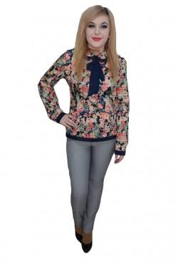Poze Pantalon elegant lung cu design geometric, de culoare gri