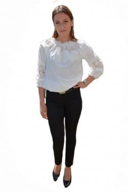 Poze Pantalon fashion cu strasuri aplicate, nuanta de negru simplu
