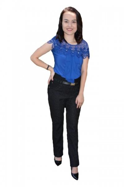 Poze Pantalon Julia cu aplicatii de dantela,nuanta de negru