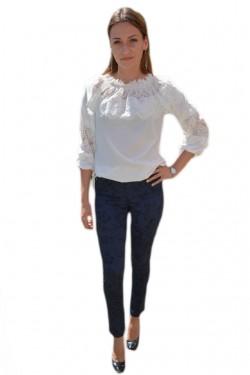 Poze Pantalon modern cu croi cambrat, bleumarin, material elastic