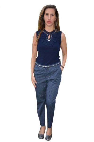 Poze Pantaloni Eva cu buline,nuanta de bleumarin