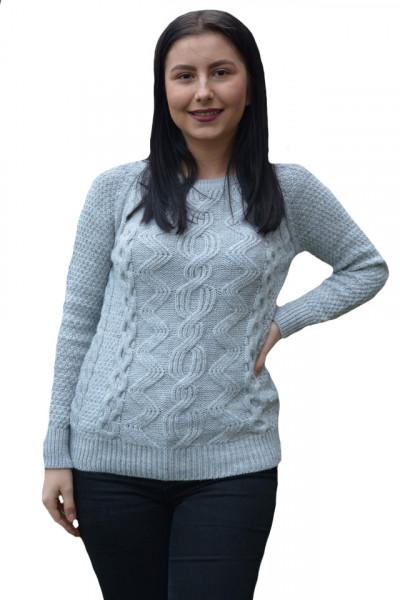 Poze Pulover tricotat Hanna ,model in opturi,3D,gri