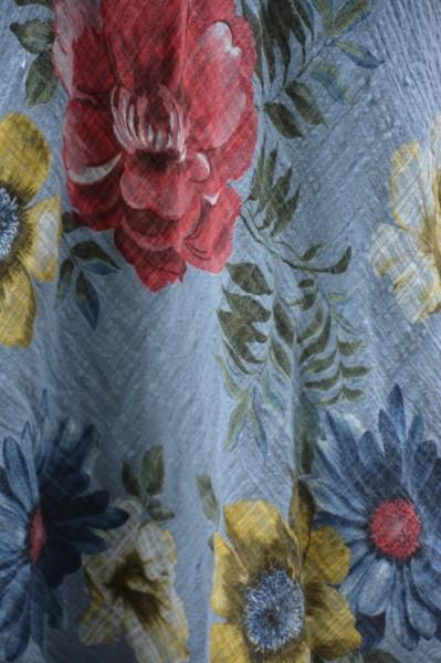 Rochie Amanda, cambrata, model cu flori, nuanta albastru