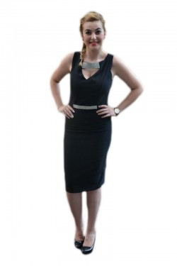 Poze Rochie cambrata, de culoare neagra, model simplu cu decolteu mic
