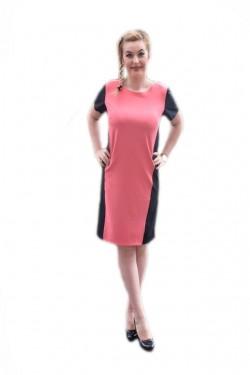 Poze Rochie casual de culoare neagra combinata cu roz, masura mare