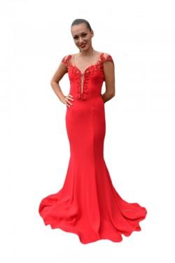 Poze Rochie de gala tip sirena, culoare rosie, cu insertie de tul nud