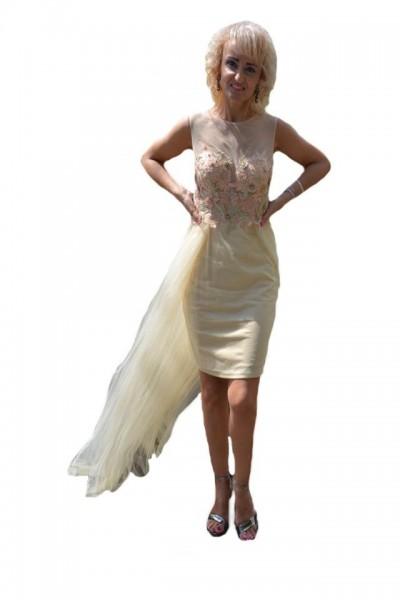 Poze Rochie de ocazie bej model scurt cu tul lung aplicat din talie