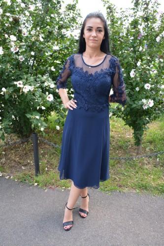 Rochie de seara din voal si dantela, culoare bleumarin