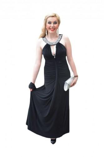 Rochie de seara lunga, rafinata din jerse fin, de culoare negra cu mergele
