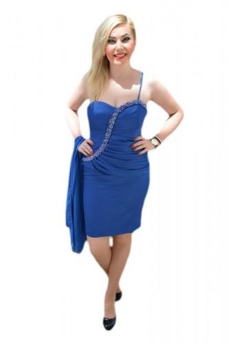 Poze Rochie de seara scurta, pe albastru regal, cu insertii de margele