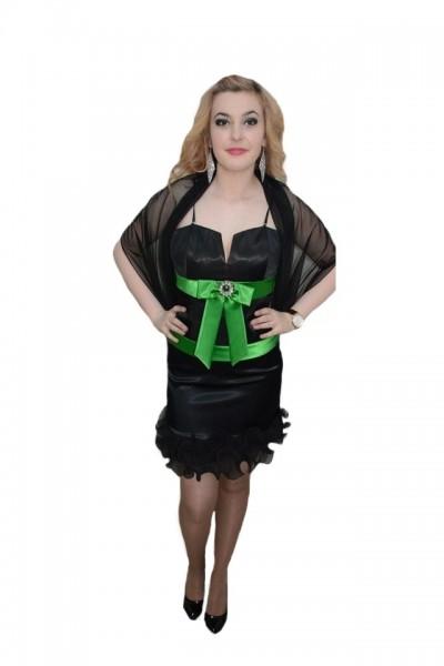 Poze Rochie deosebita, nuanta de negru, insertii de verde
