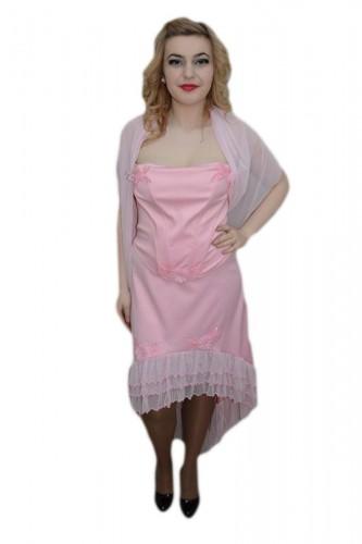 Poze Rochie din fusta si corset, culoare roz, cu design de flori aplicate