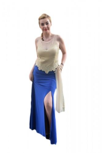 Poze Rochie eleganta, lunga, de culoare albastra, cu slit adanc