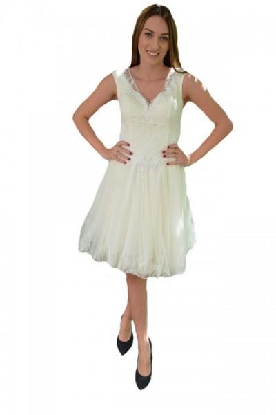 Rochie fashion de seara de culoarea perlei, din tul cu dantela fina