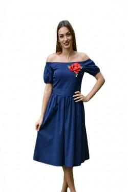 Poze Rochie fashion de zi, de culoare bleumarin, cu floare brodata